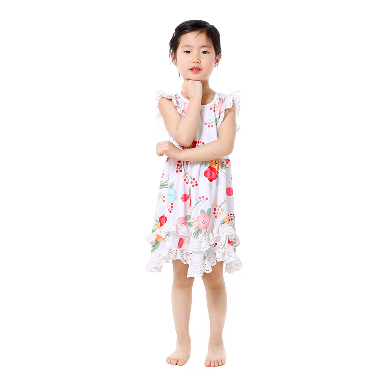 Summer Cotton Baby Girls Kids Boutique Clothes Dress Stiped Floral Lace Trim Ruffle Baby Girls Dress Toddler Outfit  (3)