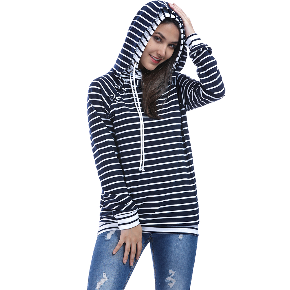 S-XL Oversized Striped Hoodies Women Autumn Winter 2017 Side buttons Hooded Hoodie Sweatshirt Female Warm Pullover