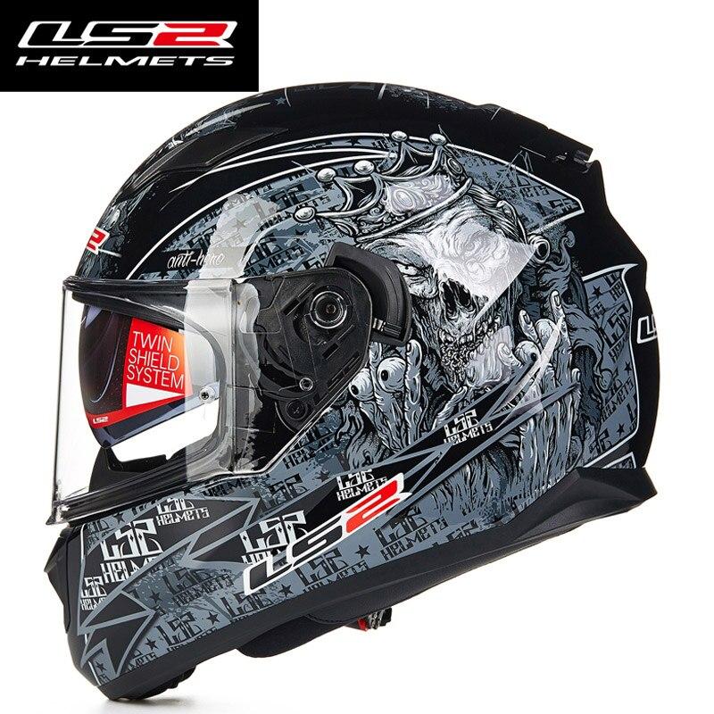 LS2 FF328 full face motorcycle helmet with inner sun visor man racing motorbike helmet DOT approved LS2 moto HELMETS