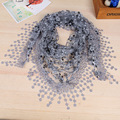 New Silk Lace Wraps Korean Version  Lady Lace Scarf Tassel Sheer Metallic Women Triangle Bandage Floral Scarves Shawl