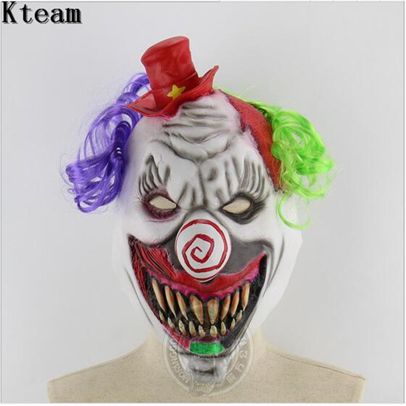 Clown Scary Full Head Latex Mask with Hair Fancy Dress  Adult