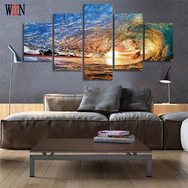 ween enmarcadas atardecer sea wave pared cuadros para la sala de impresin hd grandes modernos cuadros - Cuadros Grandes Dimensiones