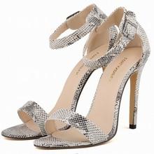 Fashion Women Faux Crocodile Leather High Heel Strappy Sandals Ladies Summer Dance Shoes Plus Size Sandalias Femininos w832