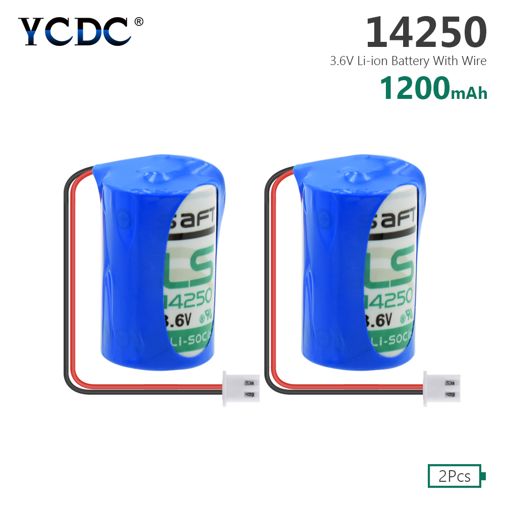 Capacity 1200mah high quality 2pcs <font><b>1</b></font>/<font><b>2</b></font> <font><b>aa</b></font> <font><b>3.6v</b></font> 100% Original <font><b>lithium</b></font> <font><b>battery</b></font> Li-ion 14250 <font><b>1</b></font>/2aa plc industrial <font><b>batteries</b></font> image