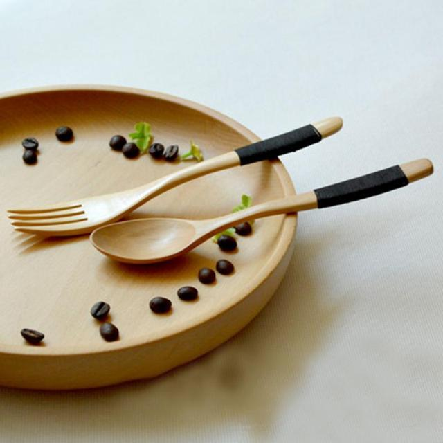 1 Set 2 Pieces Natural Eco Friendly Wooden Log Coffee Fork , Kitchen  Supplies Tableware