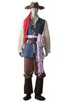 Новые Высокое качество Пираты Карибский Капитан Джек Воробей форма косплэй костюм