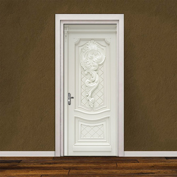 Door Stickers PVC Waterproof Living Room Bedroom Wallpaper Self-Adhesive Art Wall Decals Imitation 3D Sticker Tapety