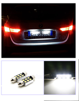 NEW Technology 36mm C5W 3014 6SMD LED License Plate Bulbs White For VW POLO 6N2 9N