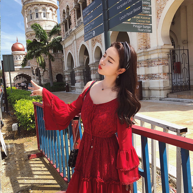 2019 Spring Women Flare Sleeve Red Lace Sexy Shoulder Design High Quality A line Dress Female Party Dresses 2