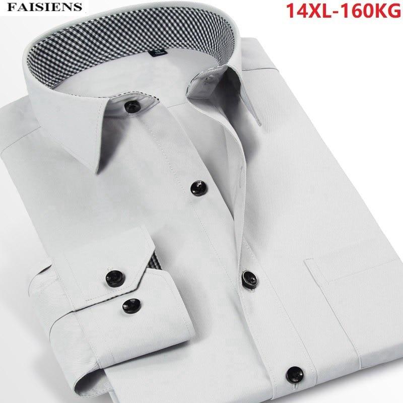 FAISIENS Men Autumn Dress Shirt 8XL 10XL Long Sleeve Large Size New Arrival Fashion Business 9XL Cotton 12XL 14XL 50 52 Shirt