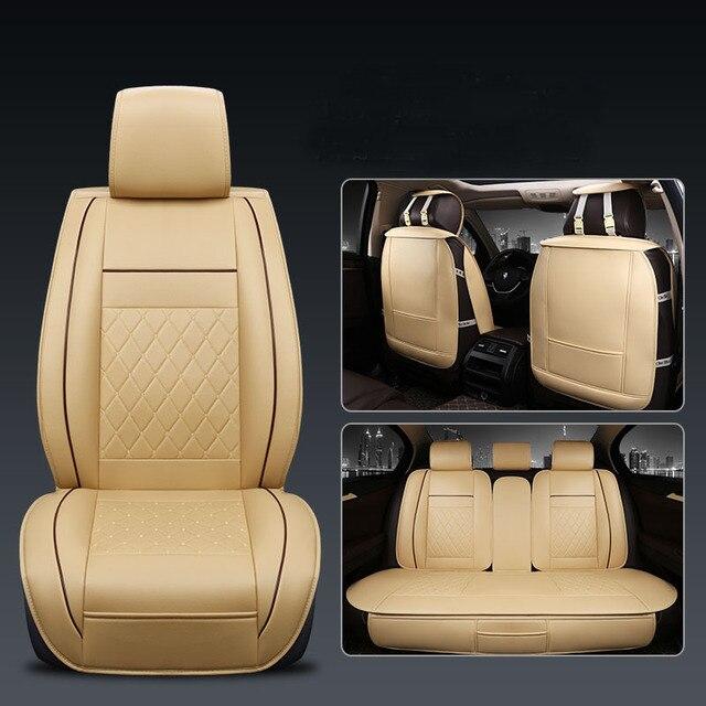 Cubierta Universal de 5 asientos para asiento de coche Protector de cojín delantero y trasero de cuero PU para la mayoría de los asientos del coche