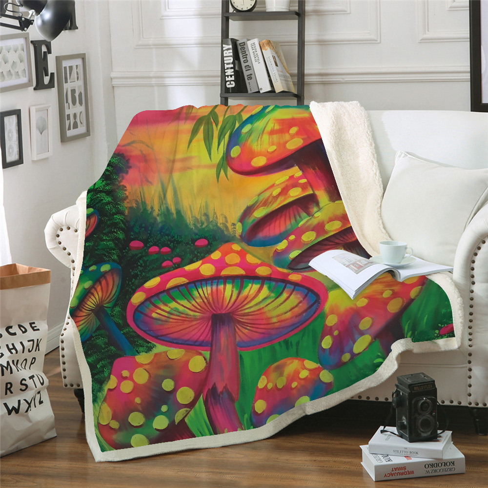 Mushroom 3D Print Sherpa Blanket Sofa Couch Quilt Cover throw blanket