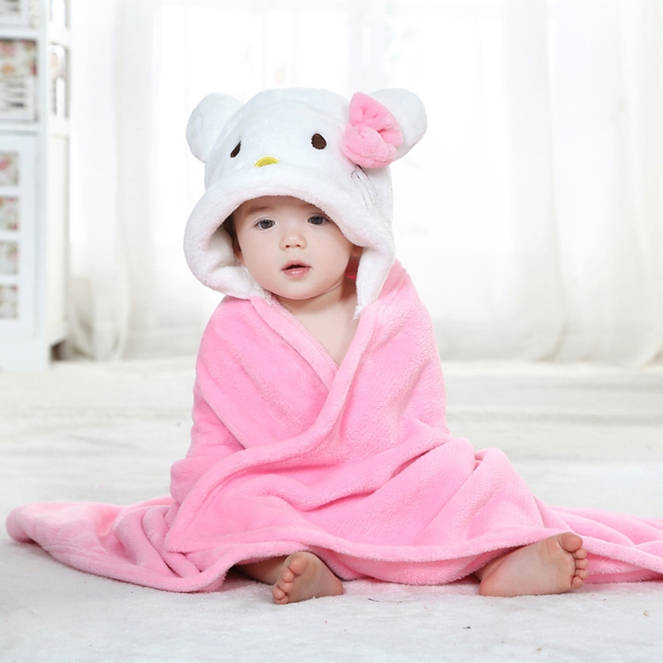 Autumn models newborn baby cute animal shapes hello kitty flannel blankets cloak sleeping bag for0 2 year in blanket swaddling from mother kids on