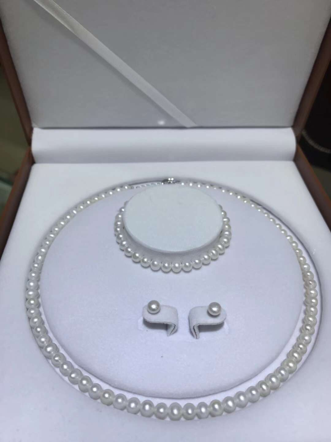 New Exquisite Pearl 5 Mm Adjustable Button Hoop 925 Sterling Silver Earrings Sets with Gift Box Women Jewelry