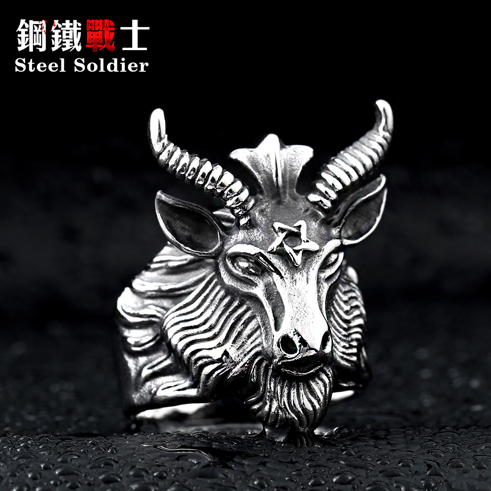 Steel soldier Stainless Steel goat Ring 2015 New men vintage Jewelry Wholesale Factory Price