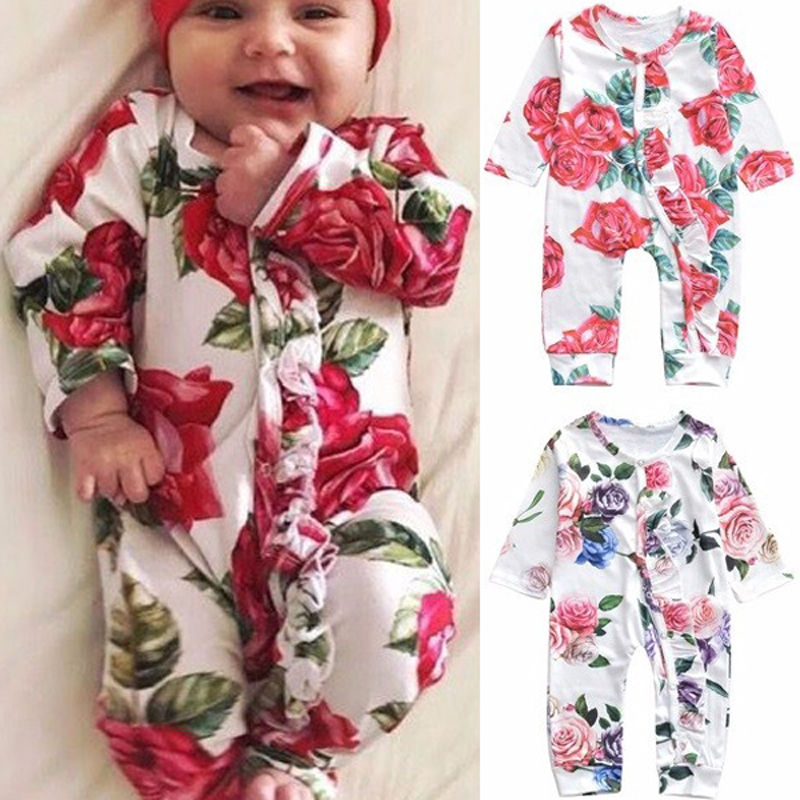 Summer Kids Baby Girl Cotton Onesie Floral Long Sleeve Romper Princess Sunsuit Toldder Newborn Jumpsuit Long Trousers Clothes