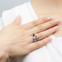 Hutang Natural Multi Color Gemstone Ring Solid 925 Sterling Silver Fine Jewelry Peridot Blue Topaz Citrine