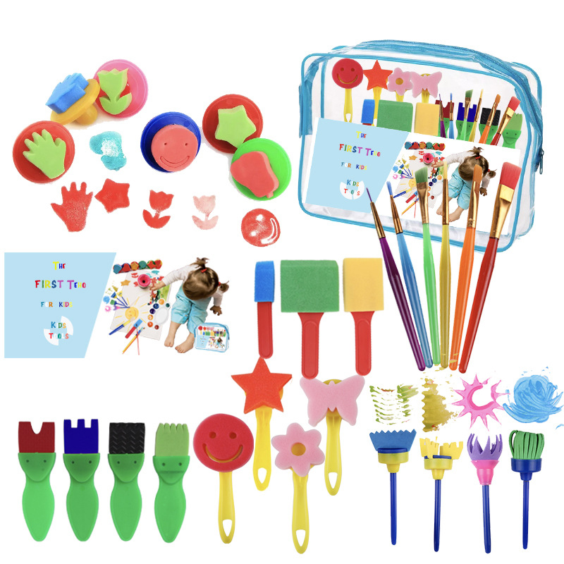 Children Painting Brush Sponge Seal Early Education Kindergarten Puzzle 27 Pieces/set Painting Tools Art Supplies