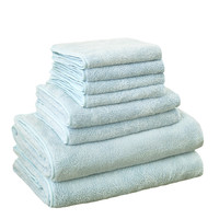 Bonenjoy 8pcs Microfiber Bath Towel Sets Softness Quick Dry Hair Toallas Blue Face Hand Towel Set