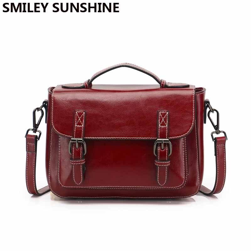SMILEY SOLEIL Cartables dames vache véritable sac de messager en cuir femmes sacs à main en cuir rouge petits sacs à bandoulière pour les femmes 2019