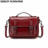 SMILEY SUNSHINE Satchels ladies cow genuine leather messenger bag women leather handbags red small crossbody bags for women 2019