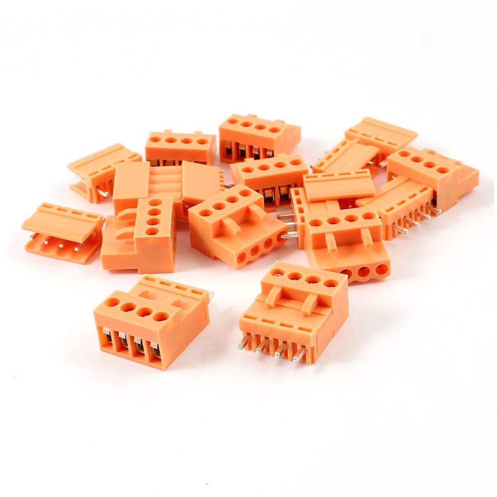 10 Set Orange 4 Pin 3.96Mm Single Row Screw Pluggable Terminal Block Straight Connector 300V 10A 5pcs 300v 25a 4 pin 10mm spacing single row pcb board black screw terminal barrier block connector