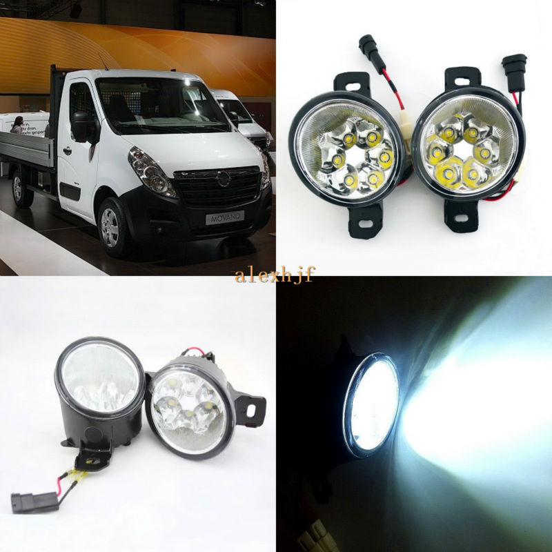 July King 18W 6LEDs H11 LED Fog Lamp Assembly Case for Opel Movano 2010, 6500K 1260LM LED Daytime Running Lights for opel astra h gtc 2005 15 h11 wiring harness sockets wire connector switch 2 fog lights drl front bumper 5d lens led lamp