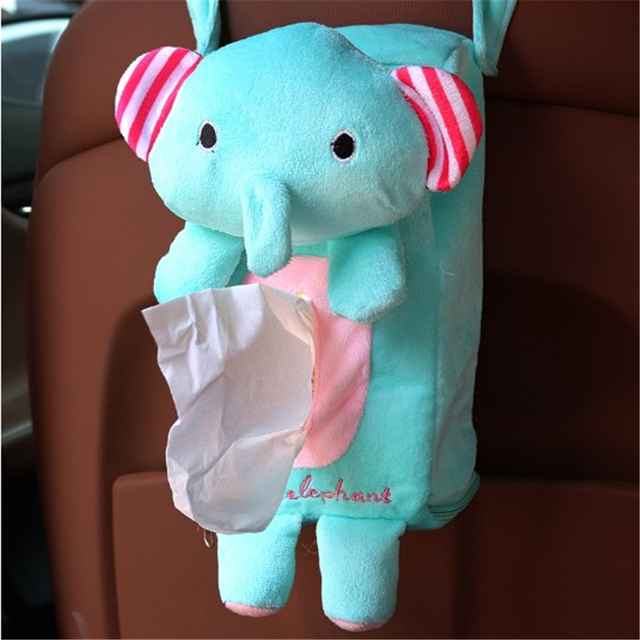 Tissue box holder for car seat back installation Cute Cartoon Paper Napkin holder Storage Bag  Auto Accessories