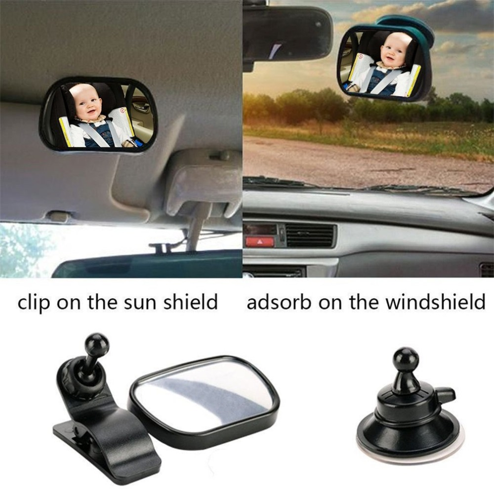 2018 2 in 1 Universal Adjustable Plastic Rear View Interior Mirror Car Seat for Baby Child Safety With Clip and Sucker