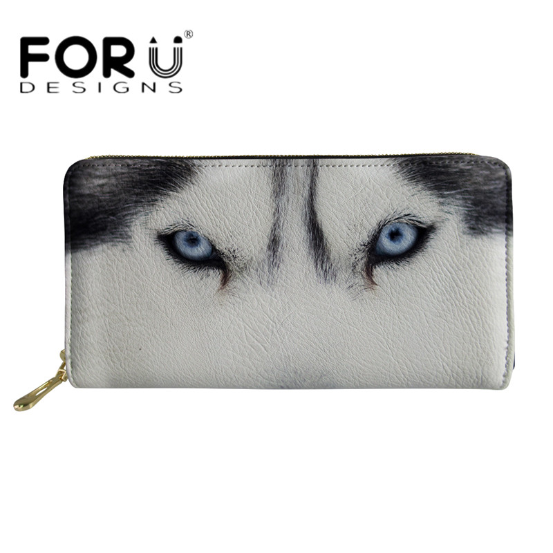 FORUDESIGNS Fashion Womens Long Wallet Cool Animal Wolf 3D Printed Waterproof Coin Purses for Girls Travel Storage Money Bags