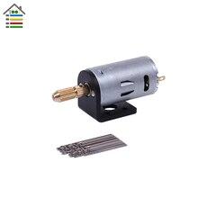 Micro Mini Hand Drill DC 3-12V Electric Motor for PCB Press Drilling w/16pc 0.8mm-1.5mm Twisit Bits Stand Bracket 2.3mm Shaft