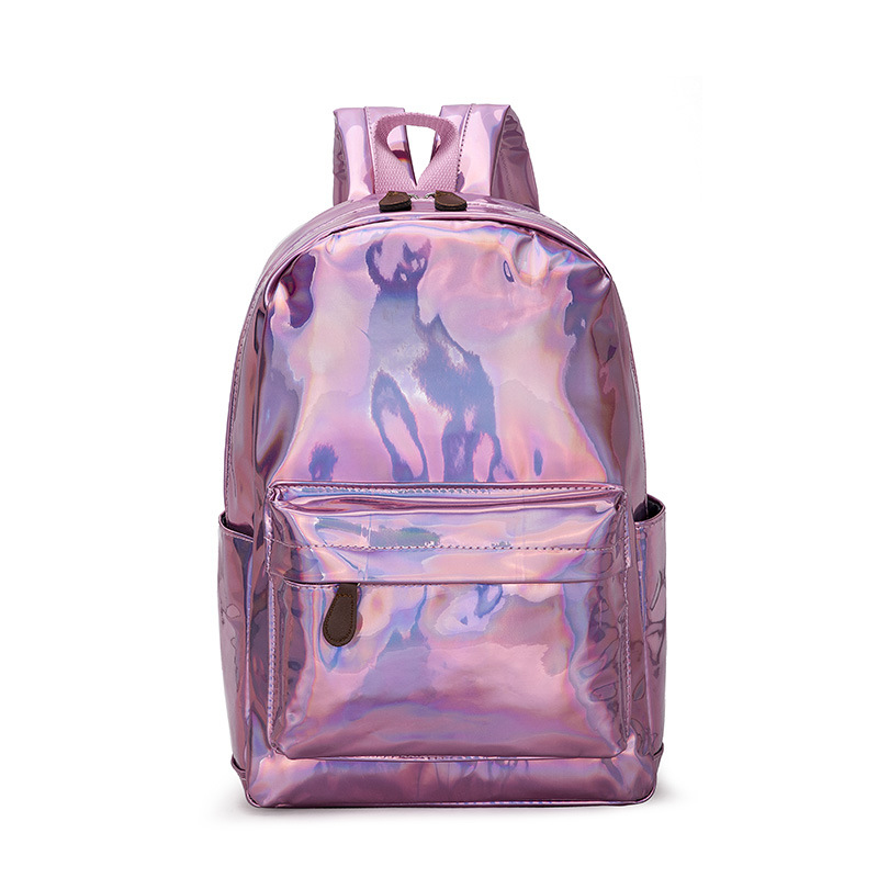 Aireebay Female Holographic Backpack Women Soft Laser Pu Leather Travel Backpacks Silver Hologram School Bags For Teenager Girls #4