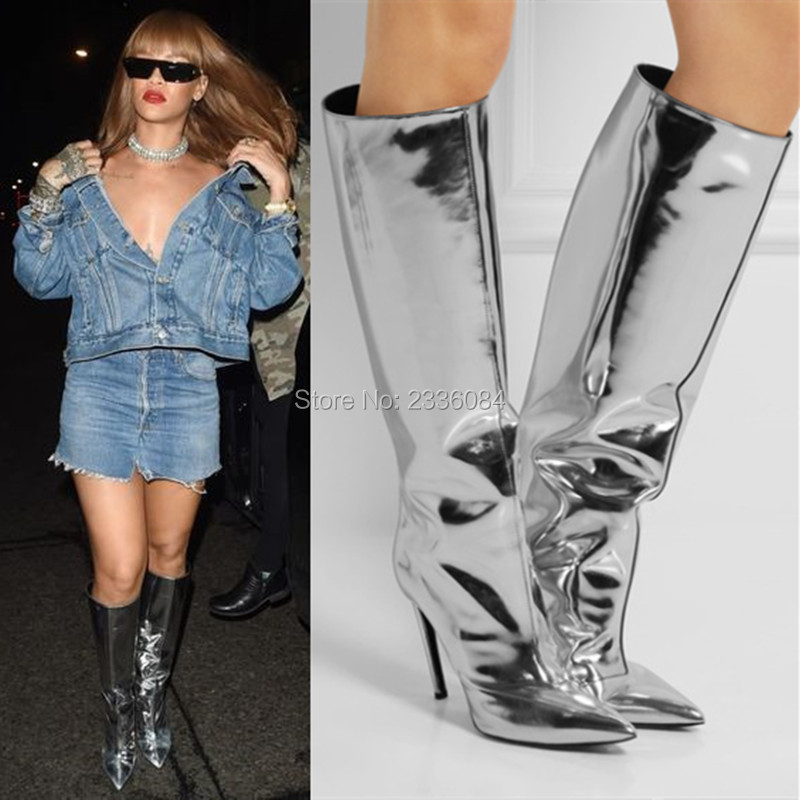 Cool Silver Mirrored Leather Knee High Boots Fashion Pointed Toe Ladies High Heels Pumps Metallic Fall Women Boots Rain Booties women ladies flats vintage pu leather loafers pointed toe silver metal design