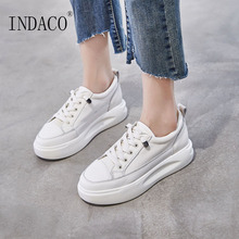 Women Sneakers 4cm White Leather Wedges Shoes for