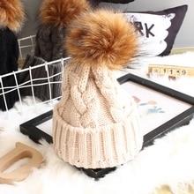 Для женщин для маленьких мама теплые зимние вязаные шапка-бини с мехом Pom Hat вязаный крючком лыжный Кепки