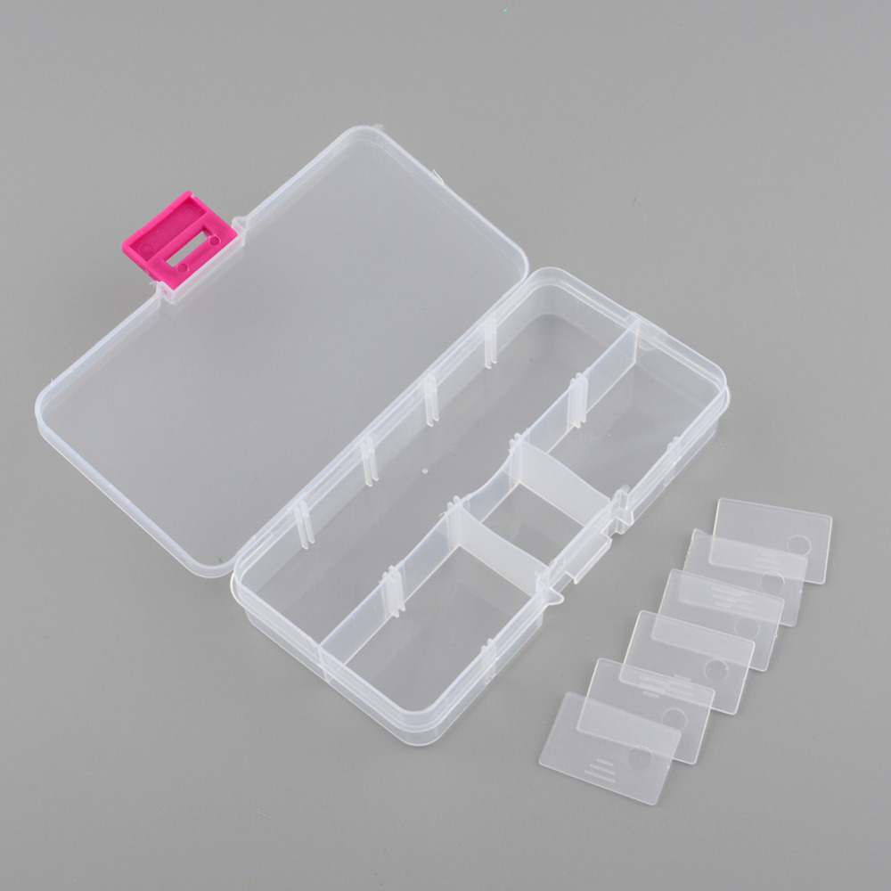 2pcs Plastic 10 Slots Compartment Adjustable Jewelry Necklace Clear Storage Box Case Holder Craft Organizer Hot