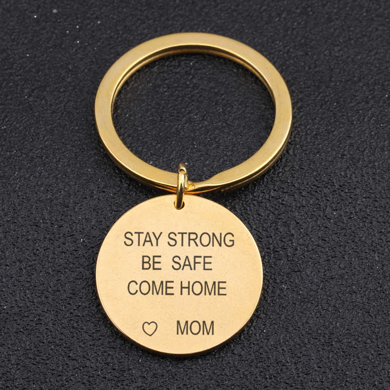 יד חותמת קסם מפתח טבעת חקוק להישאר חזק להיות בטוח לבוא בית משפחה Keychain לילדים מתנה אמא מחזיק תג