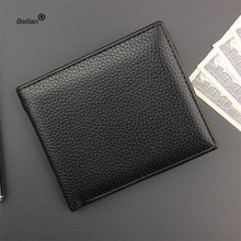 все цены на Fashion Quality PU Leather Money Clips Men Wallets Zipper Purses Vintage Thin Men Wallet Card Black Wallet Money Bag Carteira онлайн