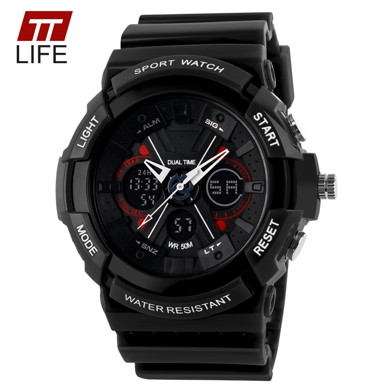 TTLIFE digital analog watch men women LED electronic Day 50m dive army G type sport watch