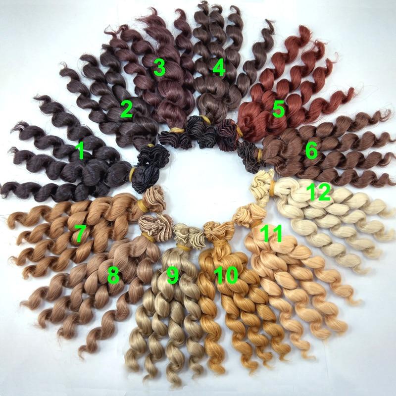 <font><b>1</b></font> piece 15cm <font><b>x</b></font> 100cm brunette blonde coffee black brown natural color curly doll wigs hair for <font><b>1</b></font>/3 <font><b>1</b></font>/<font><b>4</b></font> <font><b>1</b></font>/6 BJD SD diy