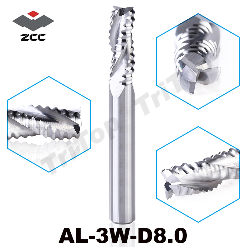 rough machining of Al alloy ZCCCT AL-3W-D8.0 solid carbide 3 flute flattened end mill 8mm straight shank and corrugated edges frances gillespie al haya al bahriya fee qatar sea and shore life of qatar