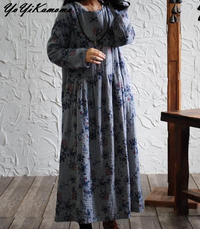 YoYiKamomo 2017 women cotton linen dress Original floral cotton long dress vintage long sleeve loose big