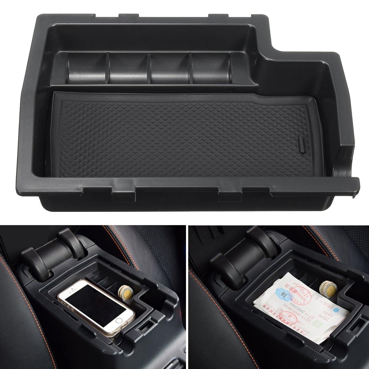 Autoleader 1Pcs Car Center Console Armrest Storage Box Tray Container for Su baru XV 2012-2015 w/ Mat Stowing Oganizer Holders ...
