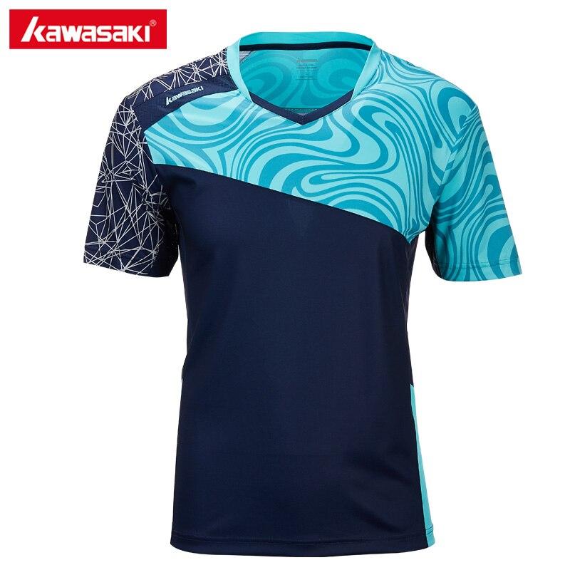 Подлинная Kawasaki Для мужчин спортивные рубашки бадминтон футболки яркий Цвет с короткими рукавами теннис рубашка открытый рубашка для мужчи...