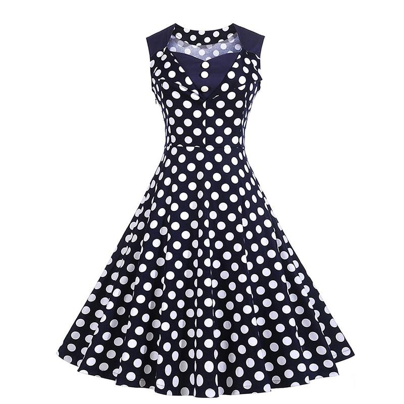 Women Polka Dot Dress V Neck Knee Length Sleeveless A Line Dress Elegant Fashion Vintage Dress 2018 New Summer Party Dresses