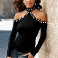 Mujeres libres del envío Del Resorte Del Otoño Pullover Femenina Halter del cuello Barra de Manga Larga de Cuello Alto Tops Negro Hombro T shirt