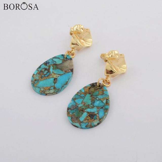 BOROSA bijoux boucles doreilles en tranches Turquoises naturelles en cuivre en forme de larme dorée boucles doreilles en tranches de gemmes naturelles pour dame G1796