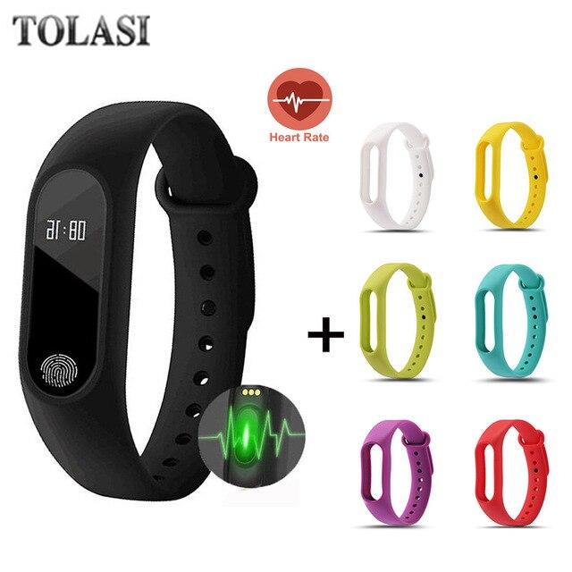 TOLASI hombres impermeable IP67 M2 reloj + reloj Fitness Monitor de ritmo cardíaco presión arterial Pedometer Bluetooth Smart Wristband