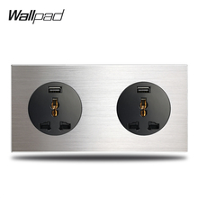 2.1A Fast Charging USB Socket 2 Way Double Universal Wall Electric with  Silver Brushed Aluminum Alloy Panel