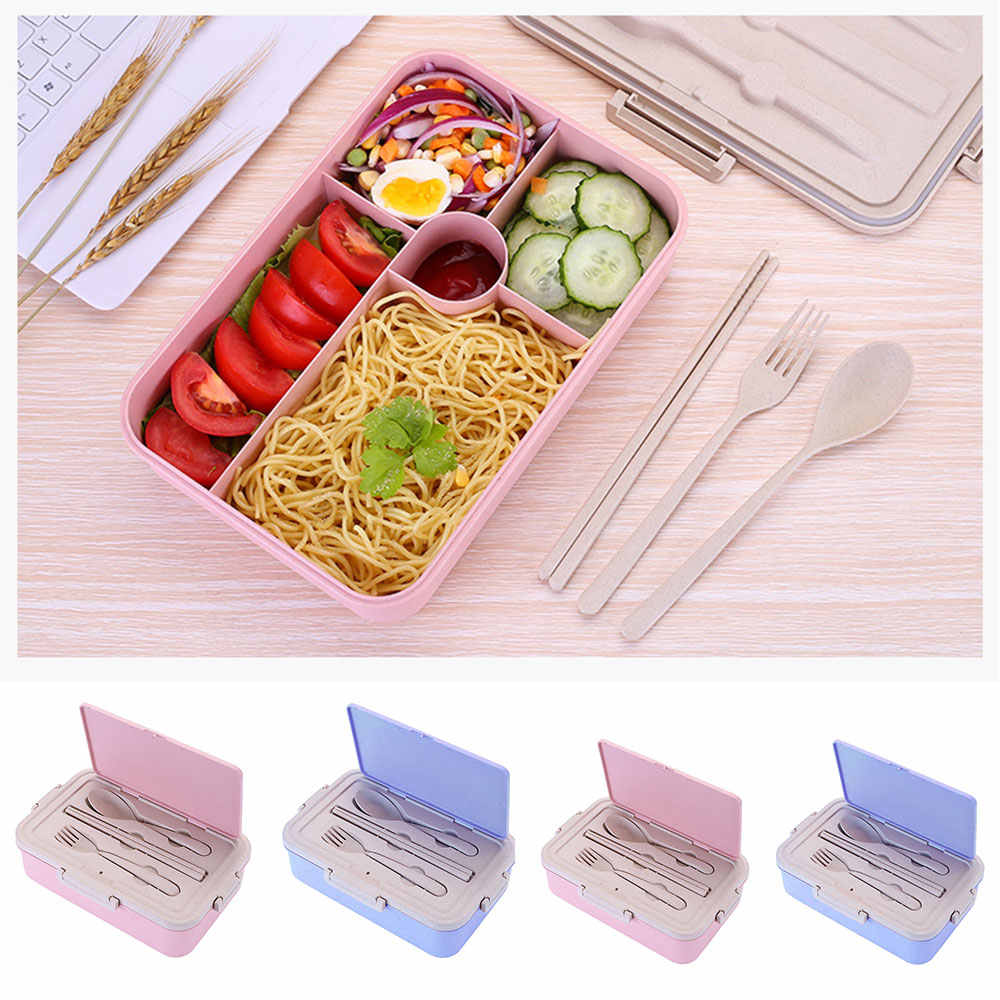 Portable Lunch Boxes Wheat Straw Bento Box With Compartments Tableware For Kids Home School Picnic Microwave Food Container